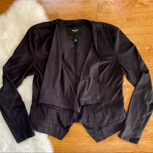 Nine West Jean Faux Suede Motorcycle Draped Jacket